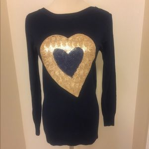 Sweaters - Navy Blue Sequined Heart Sweater